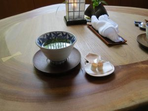 Tea and snack at check in at a Ryokan