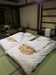 A room at a Ryokan at Bedtime