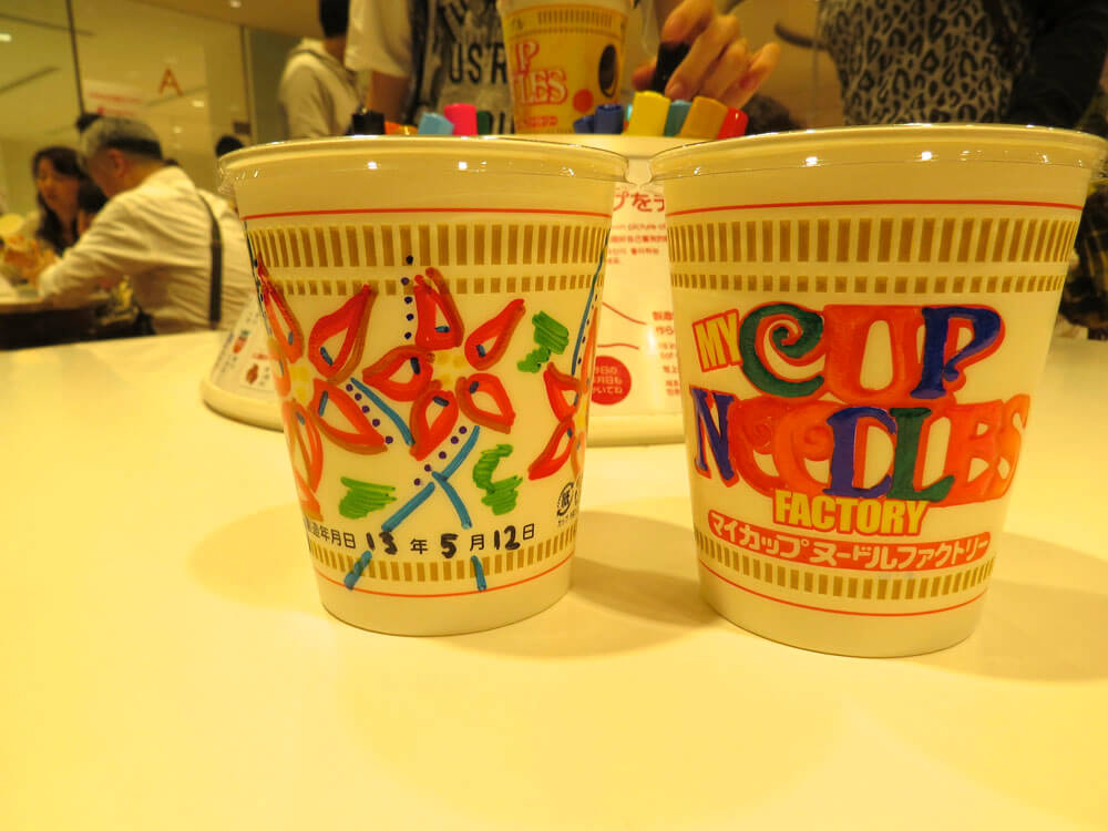 Cup Noodles following the colouring in stage at the Cup Noodle Museum