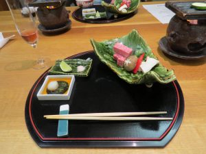 One of the many courses in an evening meal at a Ryokan