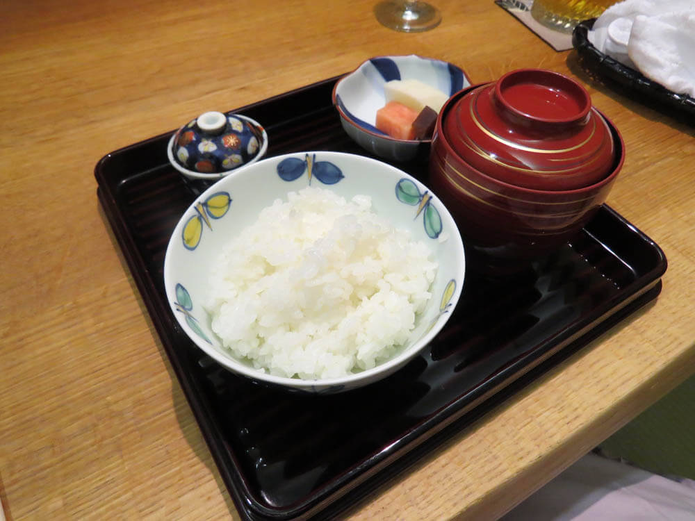 Shokuji set - boiled rice, miso soup and pickles